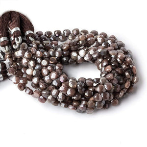 4x4-5x5mm Metallic Brown & Grey Moonstone petite faceted hearts 55 beads AA - Beadsofcambay.com