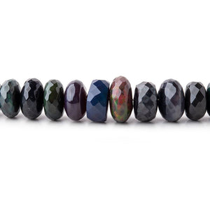 5-8mm Ethiopian Wollo Black Opal faceted rondelles 16 inch 110 pieces AA - Beadsofcambay.com