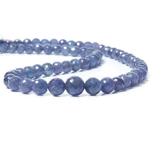 5-9mm Tanzanite faceted round Beads 16 inch 63 pieces - Beadsofcambay.com