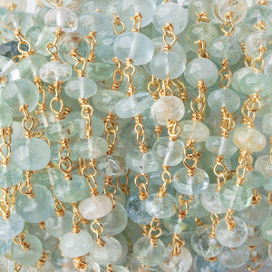 5.5-6.5mm Aquamarine & Beryl Plain Rondelles on Vermeil Chain by the Foot 30 Beads - Beadsofcambay.com
