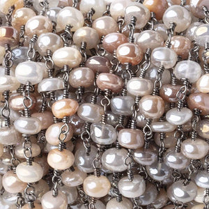 5.5-6mm Mystic Multi Moonstone Plain Rondelles Black Gold Plated Chain by the Foot - Beadsofcambay.com