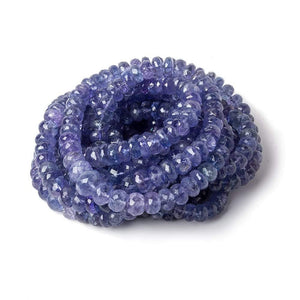 5.5-9mm Tanzanite faceted rondelle beads 17.5 inches 104 pieces - Beadsofcambay.com