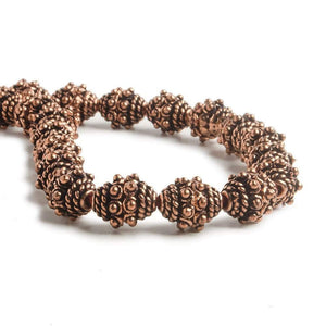 5x8.5mm Copper Bead Cap Bali with Granulation and Twisted Wire 8 inch 40 pcs - Beadsofcambay.com