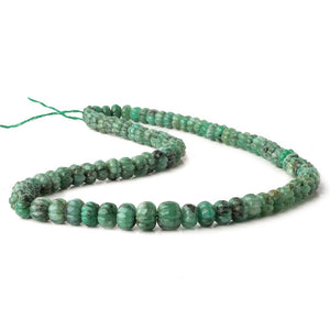 6-10mm Brazilian Emerald Carved Melon Rondelle Beads 18 inch 85 pieces A - Beadsofcambay.com