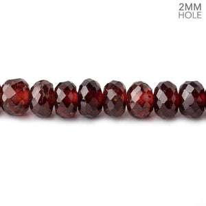6-6.5mm Mozambique Garnet 2mm Large Hole Faceted Rondelles 8 inch 42 Beads - Beadsofcambay.com