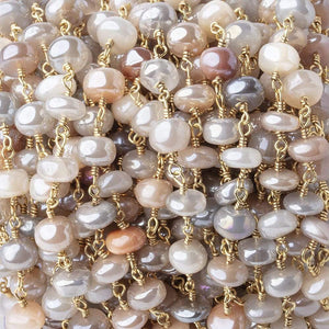 6-6.5mm Mystic Multi Moonstone Plain Rondelles on Gold Plated Chain by the Foot - Beadsofcambay.com