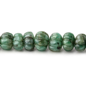 6-9.5mm Brazilian Emerald Carved Melon Rondelle Beads 18 inch 86 pieces - Beadsofcambay.com