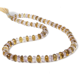 6-9.5mm Pink Amethyst & Whiskey Quartz faceted rondelles 98 beads 17 inch - Beadsofcambay.com