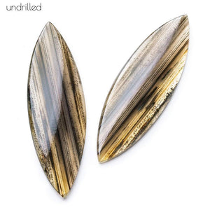 63x20x4mm Banded Brown Agate Plain Marquise Gem Quality Focal Set of 2 - Beadsofcambay.com