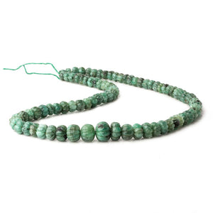 6.5-12mm Brazilian Emerald Carved Melon Rondelle Beads 18 inch 85 pieces A - Beadsofcambay.com