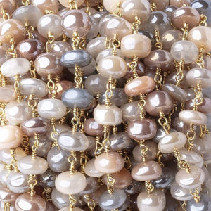 6.5-7.5mm Mystic Multi Moonstone Plain Rondelles on Gold Plated Chain by the Foot - Beadsofcambay.com