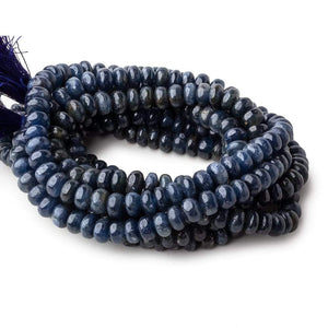 6.5-8mm Blue Sapphire Plain Rondelle Beads 16 inch 90 pieces 1mm hole - Beadsofcambay.com