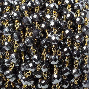 6mm Hematite faceted round Gold Chain by the foot 27 pieces - Beadsofcambay.com