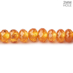 6mm Mandarin Garnet 2mm Large Hole Faceted Rondelles 8 inch 44 Beads AAA - Beadsofcambay.com