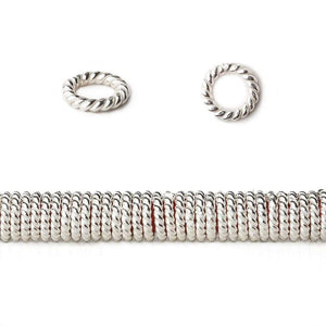 6mm Sterling Silver Plated Copper Twisted Jumpring 8 inch 174 beads - Beadsofcambay.com