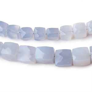 7-10mm Turkish Blue Chalcedony Faceted Cubes SET OF 2 STRANDS - 95 Beads - Beadsofcambay.com