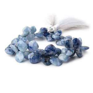 7-13mm Shaded Blue Sapphire Faceted Pillow Beads 7.5 inch 52 pieces - Beadsofcambay.com