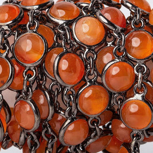 7mm Carnelian Black Gold Bezel Chain by the foot - Beadsofcambay.com