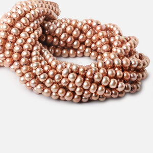7mm Dark Salmon Large Hole Off Round Freshwater Pearls 15 inches 65 pieces - Beadsofcambay.com