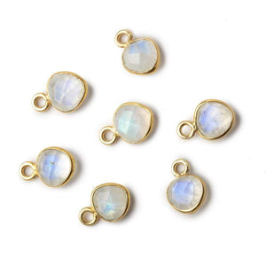 7mm Vermeil Bezel Rainbow Moonstone faceted heart focal Pendant Set of 4 pieces - Beadsofcambay.com