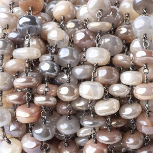 8-9mm Mystic Multi Moonstone Plain Rondelle Black Gold Plated Chain by the Foot - Beadsofcambay.com