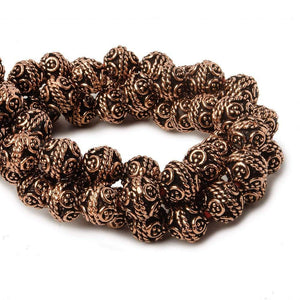 8mm Antiqued Copper Bali Design Round 8 inch 27 pcs - Beadsofcambay.com