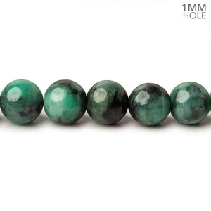 8mm Brazilian Emerald Plain Round Beads 16 inch 51 pieces 1mm Hole - Beadsofcambay.com