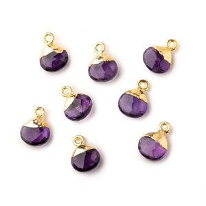 8mm Gold Leafed Amethyst faceted heart 1 focal bead - Beadsofcambay.com