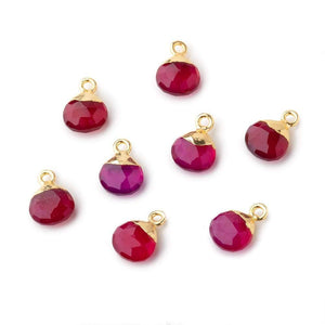 8mm Gold Leafed Berry Pink Chalcedony faceted heart 1 focal bead - Beadsofcambay.com