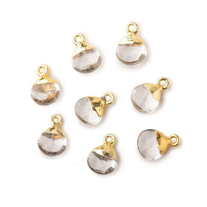 8mm Gold Leafed Crystal Quartz faceted heart 1 focal bead - Beadsofcambay.com
