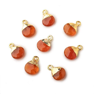 8mm Gold Leafed Orange Chalcedony faceted heart 1 focal bead - Beadsofcambay.com