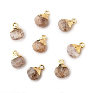8mm Gold Leafed Rutilated Quartz faceted heart 1 focal bead - Beadsofcambay.com