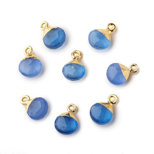 8mm Gold Leafed Santorini Blue Chalcedony faceted heart 1 focal bead - Beadsofcambay.com