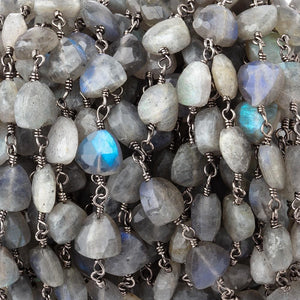 8mm Labradorite triangle Black Gold plated Chain by the foot 22 pieces - Beadsofcambay.com