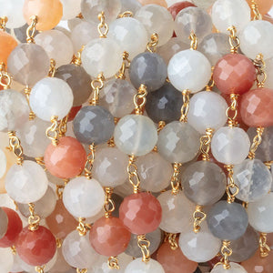 8mm Multi Moonstone Faceted Rounds on Vermeil Chain by the Foot 22 Beads - Beadsofcambay.com