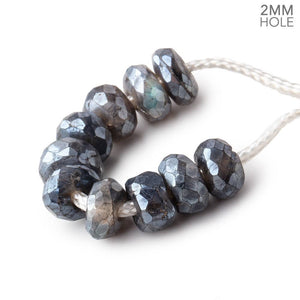 8mm Mystic Labradorite 2mm Large Hole Faceted Rondelle Set of 10 - Beadsofcambay.com