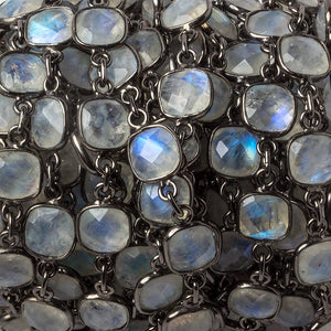 8mm Rainbow Moonstone Pillow Oxidized Silver .925 Bezeled Chain by the foot 20 pcs - Beadsofcambay.com