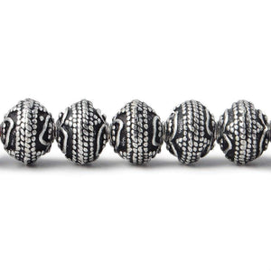 8mm Silver Plated Copper Round Bead Roval Triple Miligrain Center 7.5 inch 30 pieces - Beadsofcambay.com
