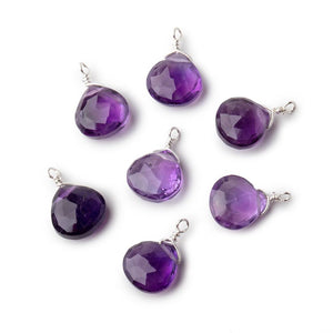 8mm Silver Wire Wrapped Amethyst Faceted Heart 1 Focal Pendant - Beadsofcambay.com