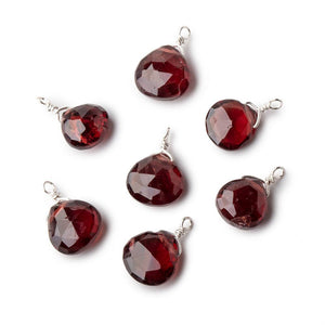 8mm Silver Wire Wrapped Garnet Faceted Heart 1 Focal Pendant - Beadsofcambay.com