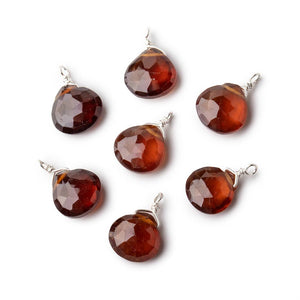 8mm Silver Wire Wrapped Hessonite Garnet Faceted Heart 1 Focal Pendant - Beadsofcambay.com