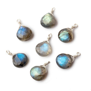 8mm Silver Wire Wrapped Labradorite Faceted Heart 1 Focal Pendant - Beadsofcambay.com