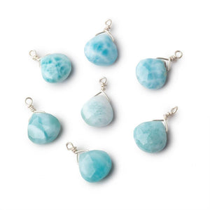 8mm Silver Wire Wrapped Larimar Faceted Heart 1 Focal Pendant - Beadsofcambay.com