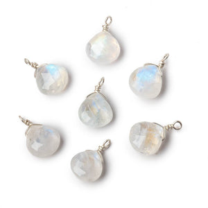 8mm Silver Wire Wrapped Rainbow Moonstone Faceted Heart 1 Focal Pendant - Beadsofcambay.com