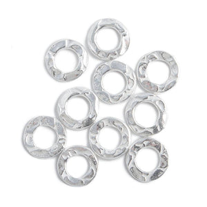 8mm Sterling Silver Hammered Jump Ring Connector 4mm ID Set of 10 pieces - Beadsofcambay.com