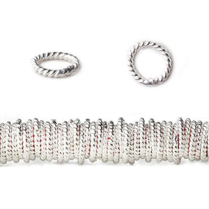 8mm Sterling Silver Plated Copper Twisted Jumpring 8 inch 42 beads - Beadsofcambay.com