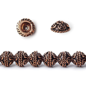 8x4mm Antiqued Copper Bead Cap with Miligrain Scroll 8 inch 52 pcs - Beadsofcambay.com