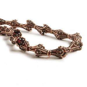 8x6mm Copper Bead Cap Bali Style Scrollwork 8 inch 28 pcs - Beadsofcambay.com