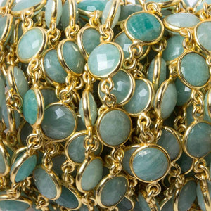 9mm Amazonite faceted coin Vermeil Bezel Chain by the foot 19 pcs - Beadsofcambay.com