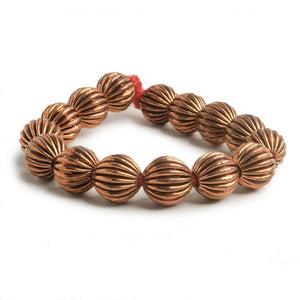 9mm Copper Corrugated Round Bead with 3mm I.D 8 inch 23 pcs - Beadsofcambay.com